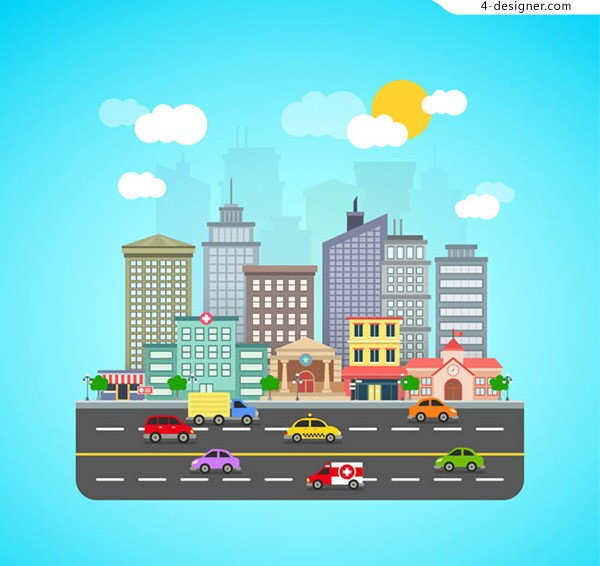 Urban roads and buildings