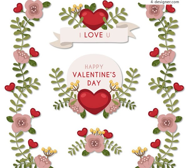 Valentine s Day flower stickers