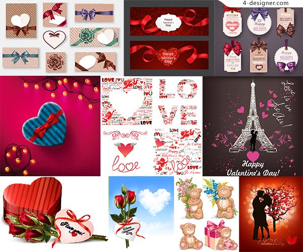 Valentine s day decorative elements