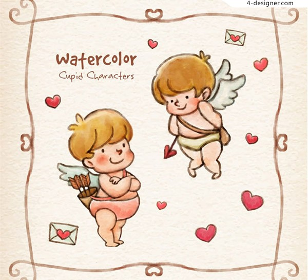 Watercolor Cupid angel