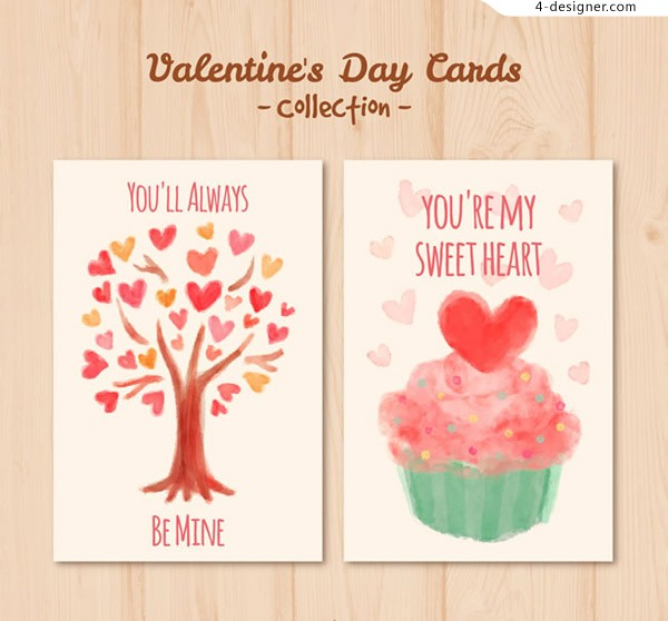 Watercolor Valentine s Day card