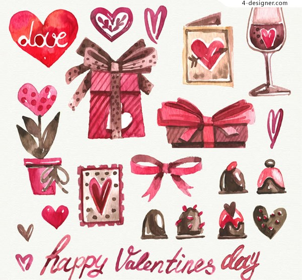 Watercolor Valentine s Day elements