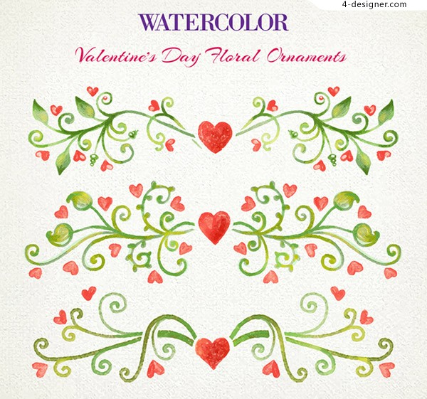 Watercolor Valentine s Day flowers