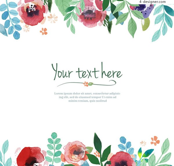 Watercolor flower border background