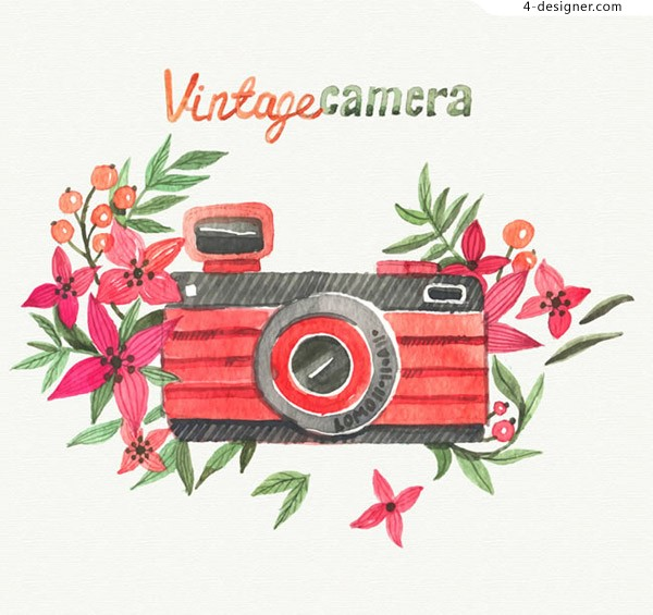 Watercolor flowers and cameras