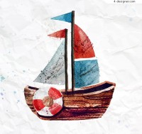 Watercolor sailing toy