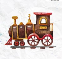 Watercolor toy train