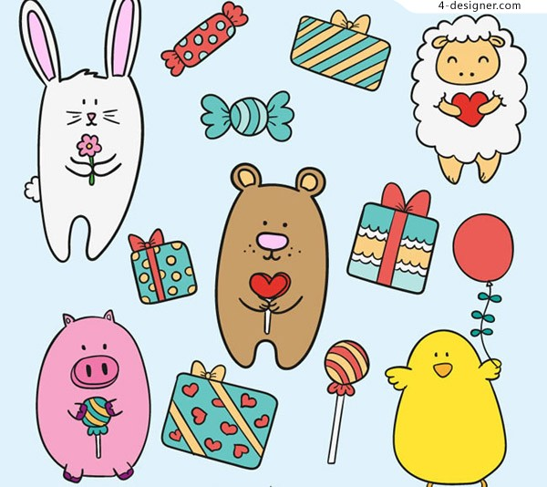 Animal and gift box background