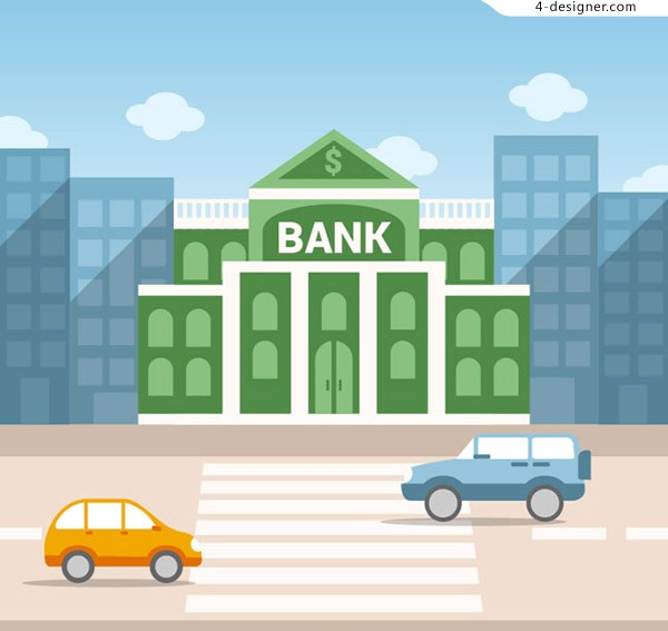 Bank buildings on the street
