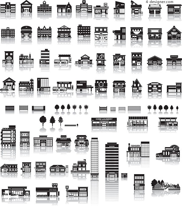 Black and white architecture vector