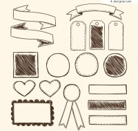 Blank ribbons and labels