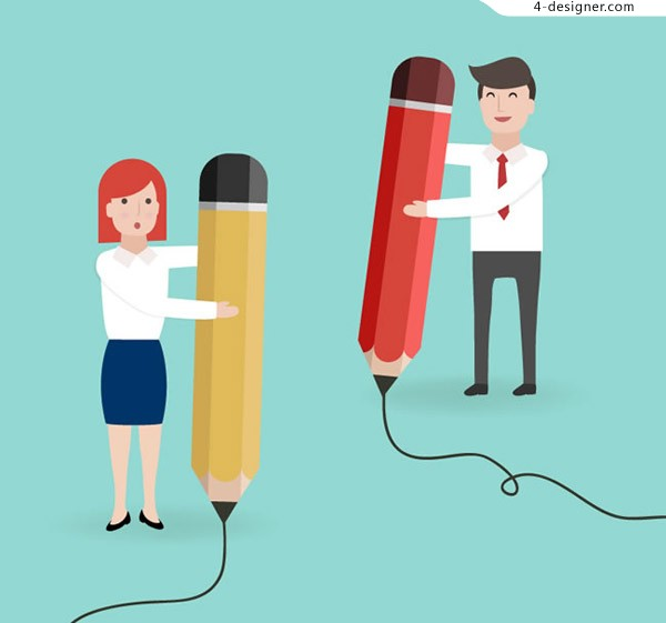 Business men and women holding pencils