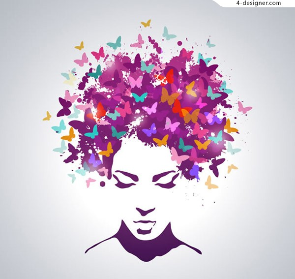Butterfly pattern woman head