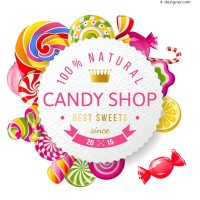 Candy store poster vector