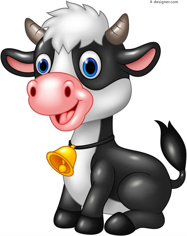 Cartoon black and white cow vector
