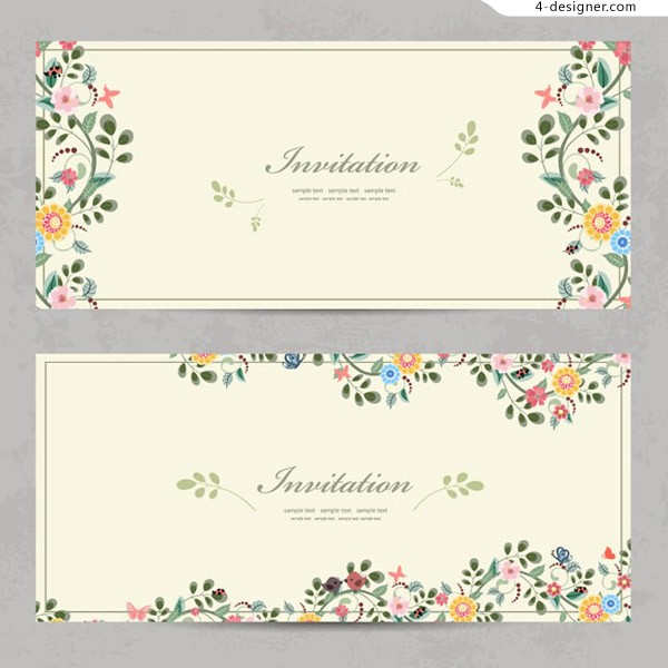 Cartoon flower invitation card