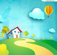 Cartoon house and hot air balloon