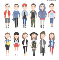 Cartoon men and women vector