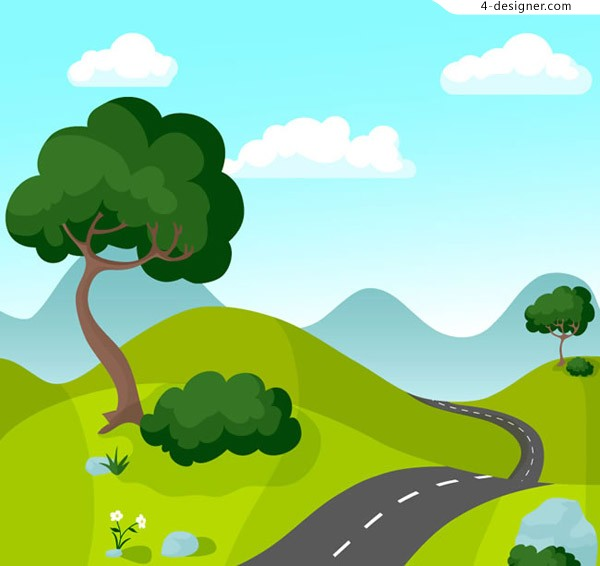 Cartoon mountain highway scenery