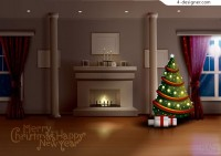 Christmas night living room vector