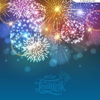 Color Festival fireworks vector