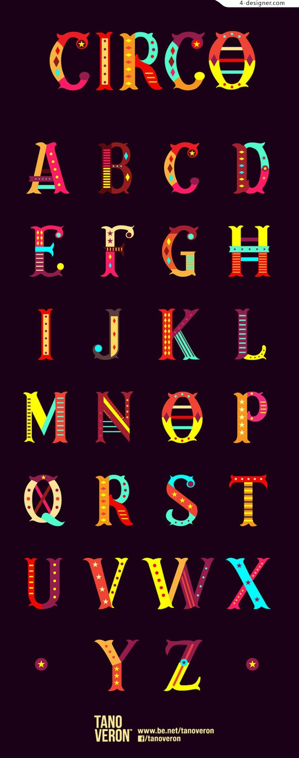 Colorful circus letters