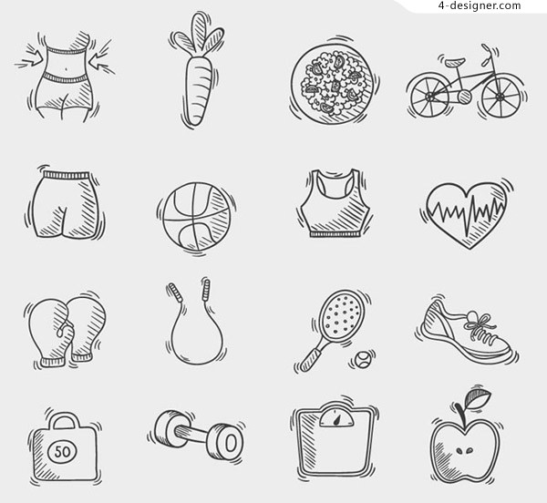 Hand drawn fitness icon vector