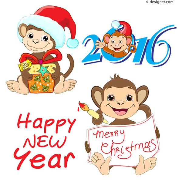 Lovely new year monkey vector