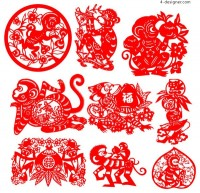Monkey year traditional art paper cutting