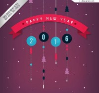 New Year greeting card vector ornaments