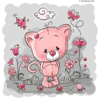 Pink cat illustration