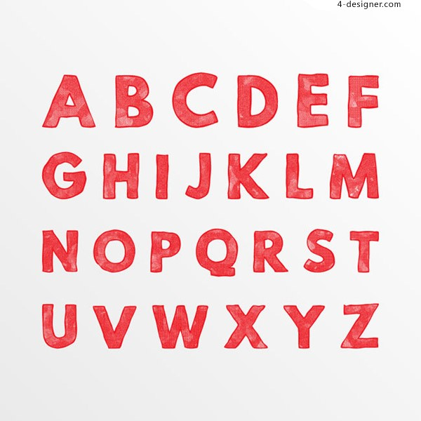 Red English letters