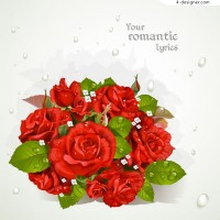Red rose bouquet greeting cards