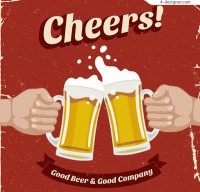 Retro glasses of Beer Poster