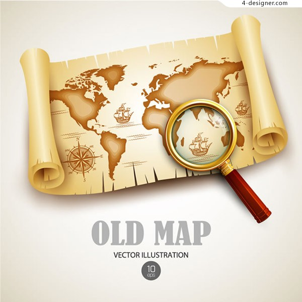 Retro treasure map vector