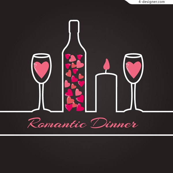 Romantic dinner illustration vector