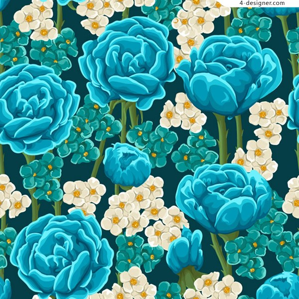 Seamless background of blue roses