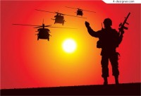 Silhouette of soldiers and helicopters