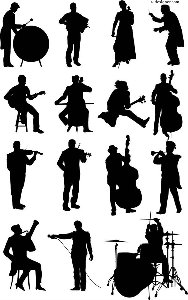 Silhouette vector for musicians