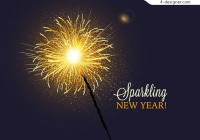 Sparkling fireworks New Year greeting card