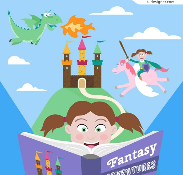 The girl who reads fairy tale books