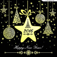 The golden ornaments New Year greeting card