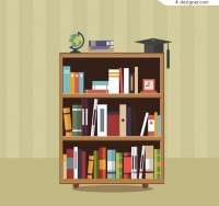 Three layer bookshelf vector