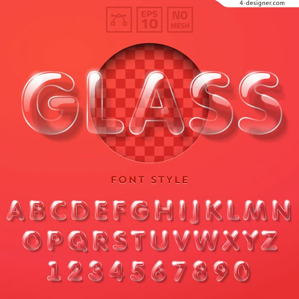 Transparent glass texture letters