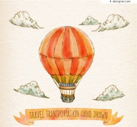 Water color striped hot air balloon