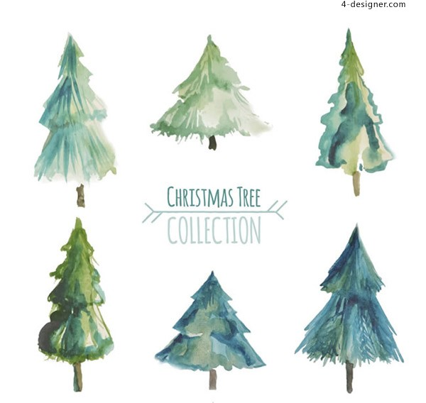 Christmas Tree Vector Image.4 Designer Watercolor Christmas Tree Vector