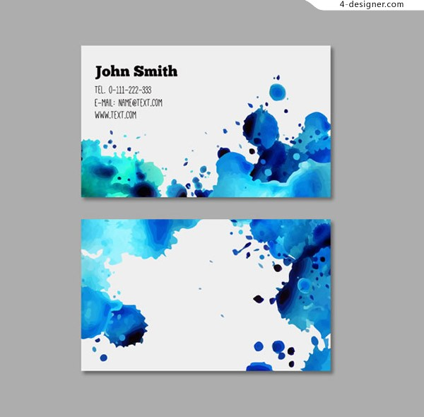 Watercolor ink business card