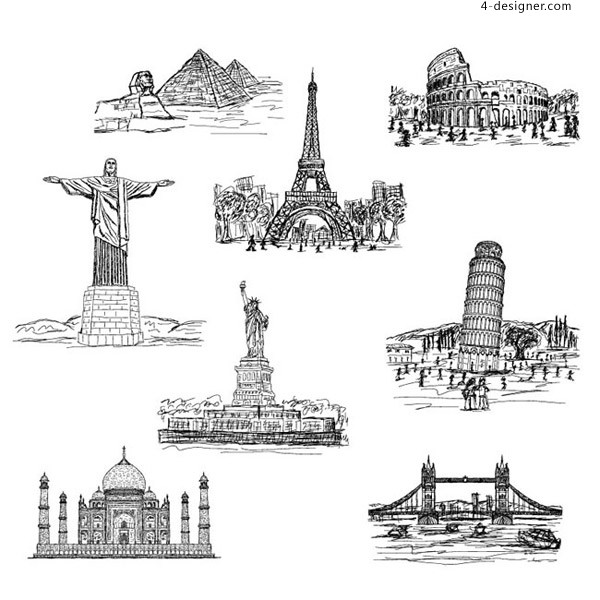 World famous architecture vector