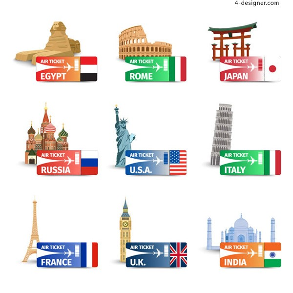World famous scenic spots and airplane tickets