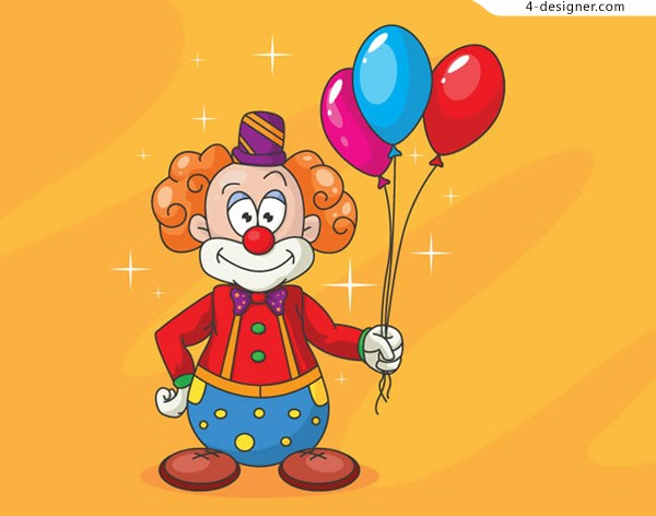 A clown holding a balloon